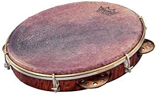 "REMO Pandeiro, Choro Pandeiro, 10"" x 1.75"" Key-Tuned, SKYNDEEP Goat Brown Ultratac Drumhead, Copper Jingles, Antique Veneer Finish"