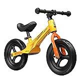 WYYY Bicicleta De Balance De Neumáticos No Neumáticos De 12 Pulgadas con Ruedas De Aleación para Niños De 3 A 8 Años Sin Pedalear Bicicleta De Diseño(Color:Amarillo)