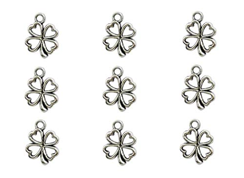100pcs Four Leaf Clover Lucky Charms Pendents for DIY Crafting Bracelet Necklace Jewelry Making Accessories(Antique Silver)