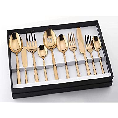 Copper Flatware Set 45-Piece Service for 8, Titanium Silverware Set Cutlery, Stainless Steel, 18/10 (Copper)