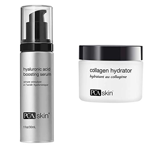 PCA SKIN Hyaluronic Acid Boosting Anti-Aging Serum with Niacinamide for Instant Hydration (1 oz) & Collagen Hydrator - Rich Antioxidant Face Moisturizer for Dry/Mature Skin (1.7 oz)