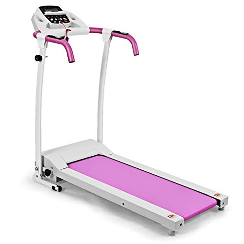Gymax Folding Fitness Exercise Treadmill Electric Motorized Power Fitness Running Machine 800W W/IPAD Mobile Phone Holder (Pink)