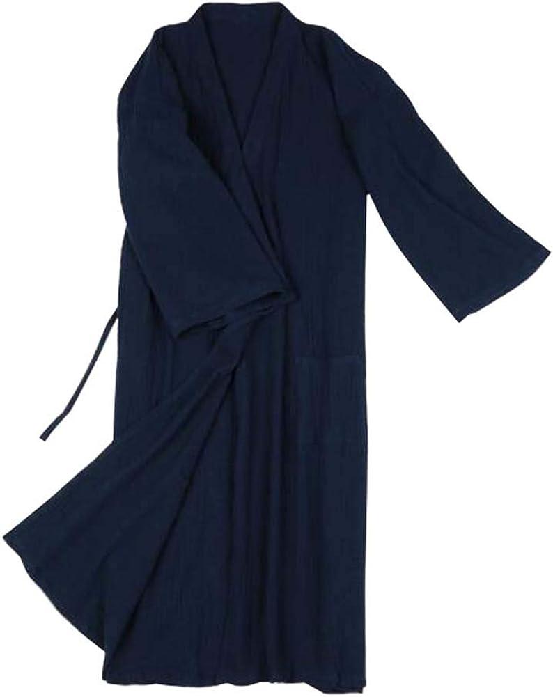DRAGON SONIC Japanese Kimono Men Long Yukata Cotton Pjamas Robes Skirt Gown, B01