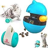 Croc-Cat Duo CULBUTO Jouet Distributeur de Croquettes Automatique pour Chat/Chaton interactif + Jeux Tumbler avec Boule d' Herbe à Chat Interactive, Double balles, sans Batterie, Bonne capacité