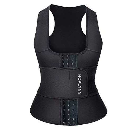 HOPLYNN Neoprene Sauna Sweat Waist Trainer Corset Trimmer Vest for Women Weight Loss, Waist Cincher Shaper Slimmer Black X-Large