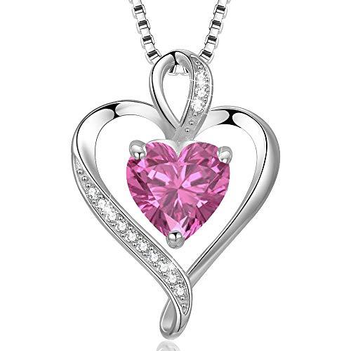 LAVUMO Collares Mujer Amor Colgante de Corazón Oro Rosa Plata de Ley 925 Collares de Mujer,Joyas Regalos para Esposa, Mamá, Novia, Cumpleaños Navidad Aniversario día de San Valentín Regalo