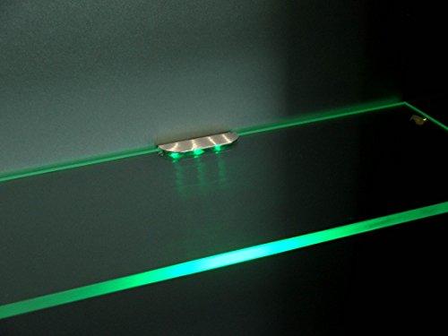 Set illuminazione LED per ripiani in vetro, illuminazione per mensola, armadi, incl. trasformatore, bianco caldo, 2x 0,24W, 12V