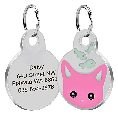 Didog Personalized Cat ID Tags with Kitten Face & Fish Shapes, Custom Engraved Pet ID Tags for Cats and Small Medium Dogs,Pink