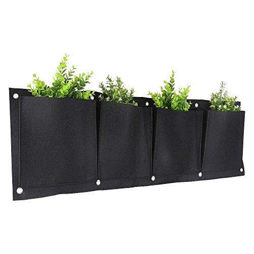 KISSTAKER Pot de fleurs vertical, 4 poches murales, en feutre à fixation murale, pour intérieur et extérieur, sac de culture (4 horizontaux) (1 pièce)