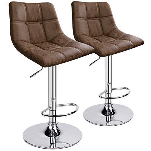 Leopard Bar Stoolss, Adjustable Bar Stool, Double Stitching with Decoration Bar Chairs, Hot-Stamping Cloth Seat Cushion (Coffee/hot-Stamping Cloth)