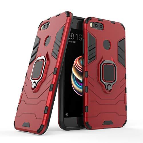 Cocomii Black Panther Ring Xiaomi Mi A1/Mi 5X Hülle, Schlank Dünn Matte Vertikaler und Horizontaler Ständer Ringgriff Verstärkter Fallschutz Hülle Bumper Cover Schutzhülle for Xiaomi Mi A1/Mi 5X (Red)