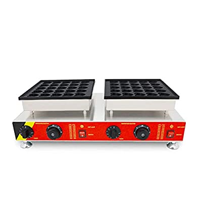 Hanchen Electric Heart-shape Waffle Maker Commercial Muffin Bake Machine 50Pcs Poffertjes Grill Dutch Mini Pancake Bake Machine Non-stick Surface for Bakery Home and Kitchen Restaurant Leisure Snack Bar(Cake Size:1.8x1.5x0.3in) (110v 60Hz American Plug)