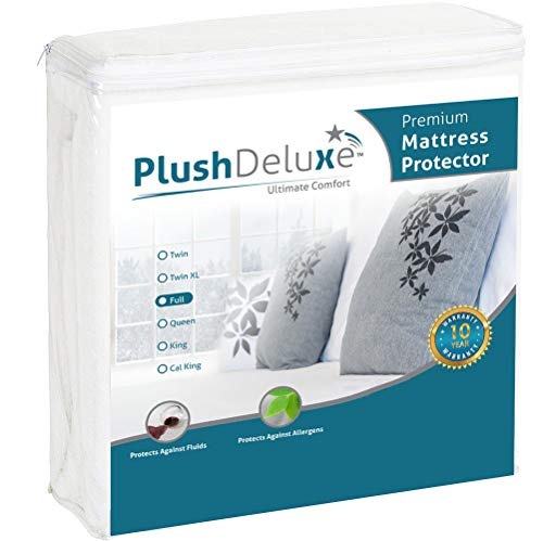 PlushDeluxe Premium Mattress Protector, Waterproof & Hypoallergenic Mattress Cover, Breathable & Without Vinyl Soft Cotton Terry Surface, Full