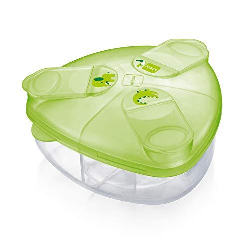 MAM Milchpulverspender, Milchpulver Box zum einfachen Befüllen von Babyflaschen, Milchpulverportionierer fasst bis zu 3 Portionen, 0+ Monate, grün