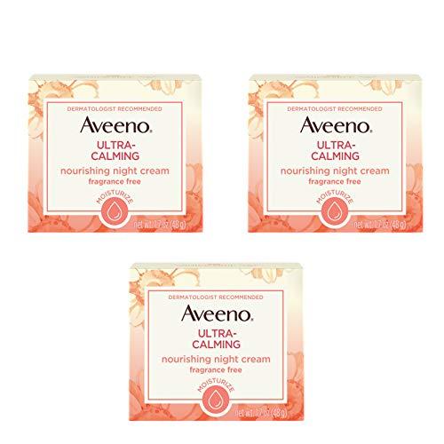 Aveeno Ultra-Calming Nourishing & Moisturizing Face & Neck Night Cream for Dry, Sensitive Skin with Calming Feverfew & Nourishing Oat, Non-Comedogenic, Oil-Free & Hypoallergenic, 1.7 oz (Pack of 3)
