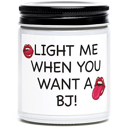 Funny Gifts for Boyfriend Husband, Light Me When You Want A BJ Candle, Naughty Birthday, Anniversary, Valentines Day Gifts for Men, Him, Boyfriend, Husband, Fiance