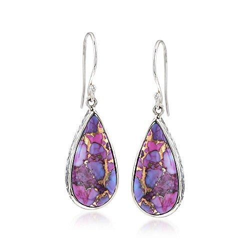 Ross-Simons Teardrop Purple Turquoise Earrings in Sterling Silver For Women 925