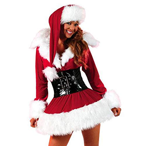 Thrivinger Women's Claus Costume Santa Outfits Sexy Dress, Women Christmas Costume Sexy Ms. Santa Party Outfit with Hat and Leg Warmers and Belt for Christmas