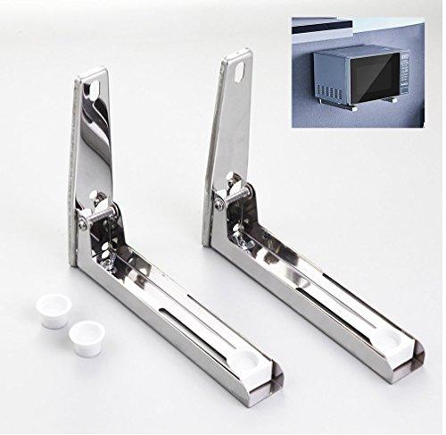 OTTOCASA Soporte de Montaje de Microondas(con Gancho) en Acero Inoxidable/Soporte de Estante Multifuncional Plegable Ajustable con Gancho en Aluminio de Espacio para Cocina (Pilones)