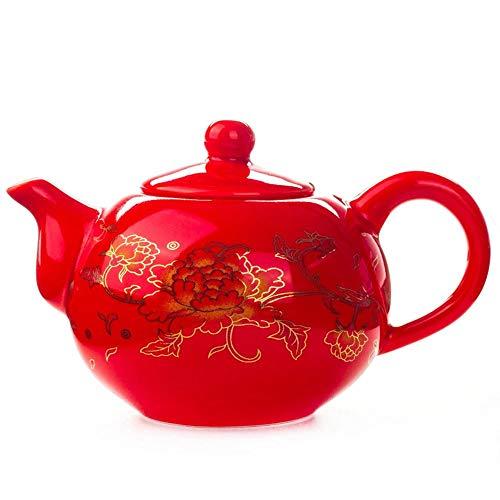 AFGH Tetera Tetera China Porcelana Roja Boda Juego de té Celebración Cerámica clásica Kung Fu Chino Taza de té Hervidor de Agua
