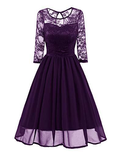 Vestido Otoño Mujer Elegante Encaje See Through Tunic Casual Club Dama de Honor Vestido de Madrina Vestido de Fiesta de una línea-Vestido Morado_XXL
