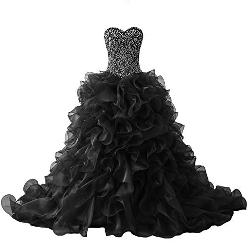 XSWPL Gorgeous Heavy Beaded Organza Quinceanera Dresses for Sweet 16 Ball Gowns