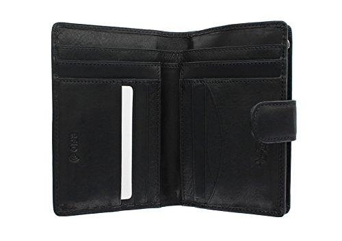 Tony Perotti Full Grain Leather Purse With Tab Closure - RFID Protected 1009_1 Black
