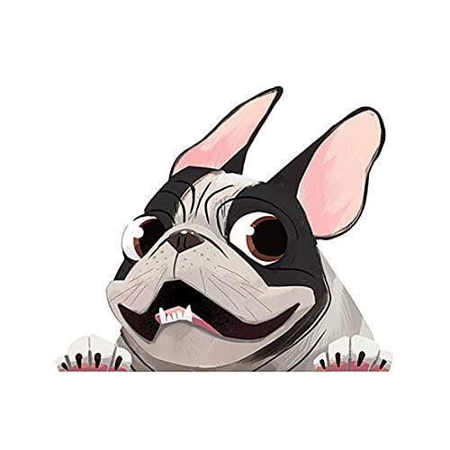 GDYL Etiquetas Engomadas del Coche Pegatinas De Coche De Bulldog Francés Cervatillo, Protector Solar Decorativo, Cubierta De Vinilo, Arañazos, PVC Impermeable