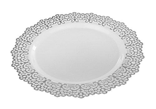 Premium Decorative Plastic Dinnerware Plates - 9' Inch Round Dinner Plate - 12 Count - Silver Rimmed