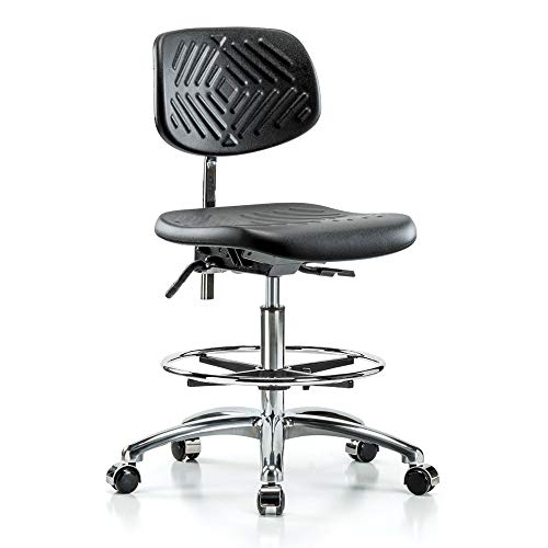 Perch Clean Room Ergonomic Industrial Chair with Footring, Workbench Height