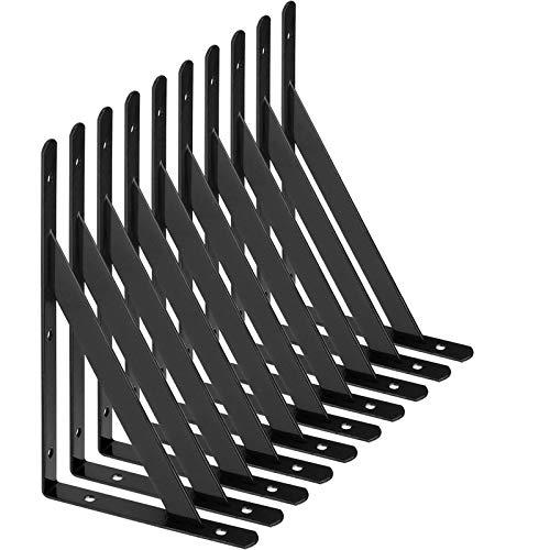 AHUNTTER 10 soportes de estante de 200 mm, soportes de metal triangulares resistentes, soportes de estantería de ángulo recto montados en la pared, color negro