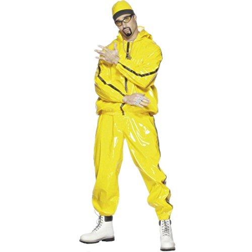 NET TOYS 80er Jahre Rapper Kostüm Gangster Outfit Gelb L 50/52 Ali G Rapperkostüm Pimp Karnevalskostüme Männer Herren