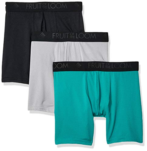 Fruit of the Loom Men#039s 3pk Breathable Lightweight Micromesh Boxer Brief assorted Large