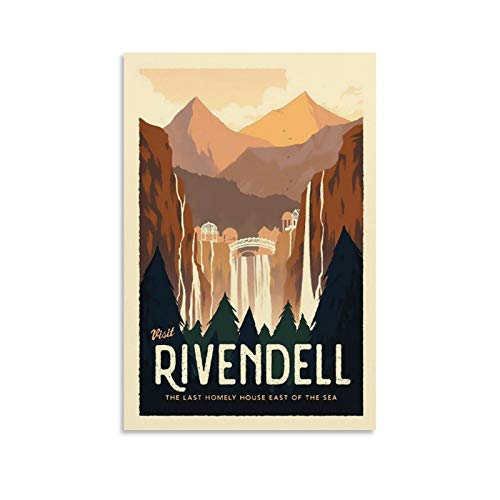 HUAIREN Rivendell LOTR Travel Poster - Lord of The Rings - Retro Vintage Poster Prints Decor Gift Canvas Wall Art For Room Decor Family Bedroom Bathroom Aesthetic Poster 12x18inch(30x45cm)