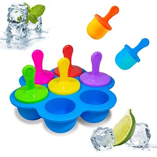 Mini Eis Am Stiel Formen 7 Mulden Eiswürfel Silikonform Eisform Mit Stöcken und Tropfschutz Eisförmchen Baby Eis Am Stiel Tablett Silikon Eisformen für Kinder Behälter für Babynahrung Milch Blau