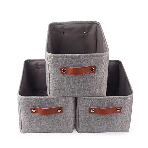 Mangata Grau Aufbewahrungsbox aus Stoff, Waschbar Aufbewahrungskorb aufbewahrung für Spielzeug, Kleidung, Regale (3er Set, Mittel)