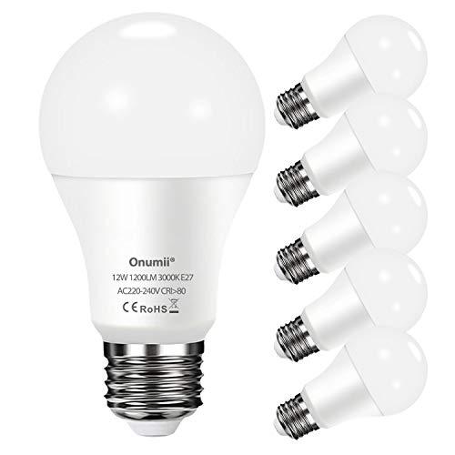 Ampoule LED E27 12W Équivaut Ampoule à 100W, 1200LM Blanc Chaud 3000K, Non Dimmable, A60 culot à Grosse Vis E27, 220-240V - Lot de 6
