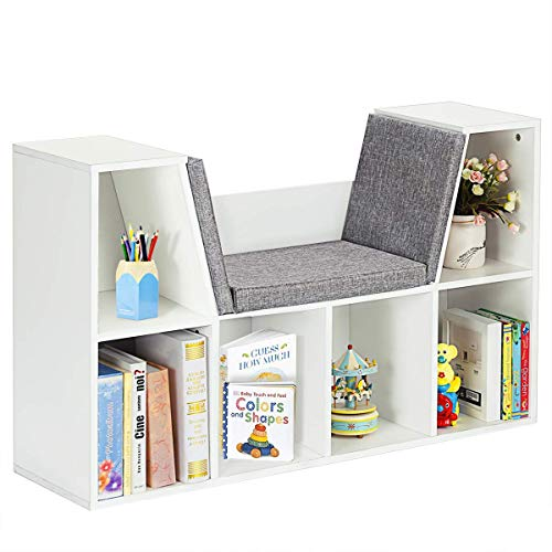 Costzon 6-Cubby Kids Bookcase w Cushioned Reading Nook, Multi Purpose Storage Organizer Cabinet Shelf with Soft Cushion and Thick Wood Board for Children Girls & Boys Bedroom Decor Room (Modern White)