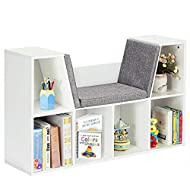 Costzon 6-Cubby Kids Bookcase w/Cushioned Reading Nook, Multi Purpose Storage Organizer Cabinet Shelf with Soft Cushion and Thick Wood Board for Children Girls & Boys Bedroom Decor Room (Modern White)