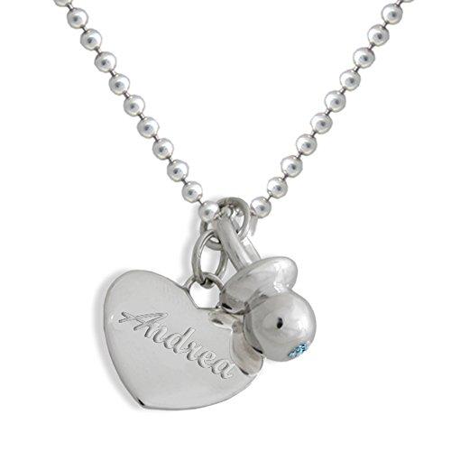 Collar con colgante en forma de chupete, con topacio azul y corazón, con nombre personalizado, de plata 925/1000. Regalo ideal para las madres embarazadas. Joyas de Flores. 15 gramos