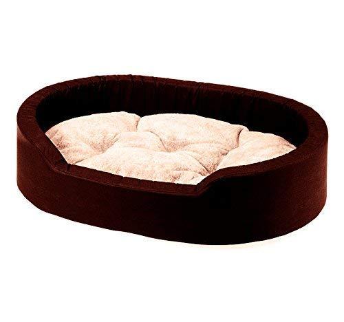 Gorgeous Soft Velvet Reversable Dual Bed for Dog and Cat (Brown-Cream, Medium)