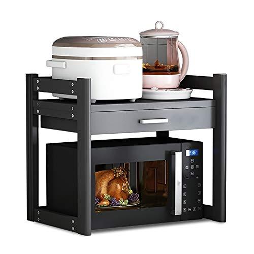 Duchunsheng Soporte Microondas Encimera Pesada (Blanco/Negro), Soportes para Repisas Cocina Ajustable, con Cajón De Almacenamiento, Organizadora, Soporte De Montaje De Microondas