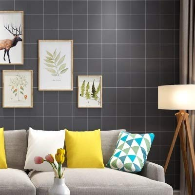 jidan Europäischer Badezimmer WC Hintergrund wasserdicht Folie Self Adhesive Vinyl Tapete Rolle for Küchen-Fliese-Wand-Dekor Kontakt Papier (Color : Square Gray, Dimensions : 60cmX10m)