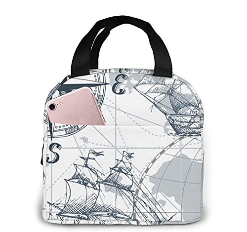 Bolsa de almuerzo con mapa de velero náutico, bolsa de asas, caja de almuerzo, contenedor de almuerzo aislado para mujer y hombre