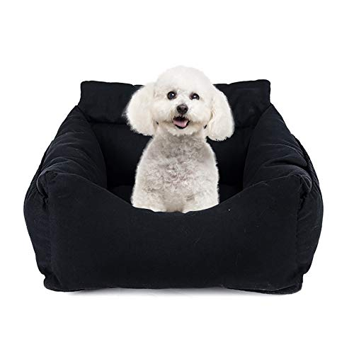 Ryoizen Asiento de coche para perros 2 en 1, asiento de coche, cama lavable, para mascotas, plegable, suave, antideslizante, cama para perros, asiento elevador para perros grandes