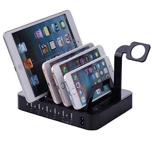WYZQ Soporte de Cargador de teléfono móvil de 6 Puertos Estación de Carga de Tableta de teléfono Inteligente Multifuncional USB multipuerto para Tableta de teléfono móvil