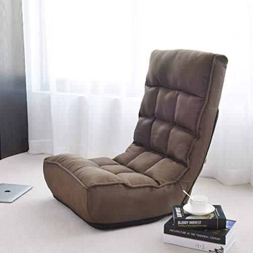 Giantex Floor Chair Sleeper 4-Position Adjustable Angle Folding Lazy Sofa Cushioned Couch Lounger Easy for Storage, Brown brown chair gaming