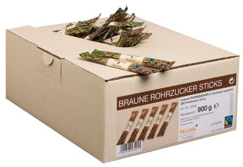 Fairtrade Hellma Braune Rohrzucker Sticks, 200 Portionen à 4,5 g - 200St.