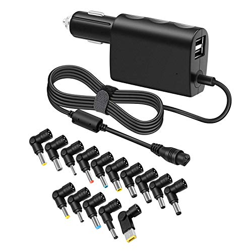 90 Watt DC Universal Laptop Car Charger Inverter for Computer Asus Acer Dell HP Lenovo Sony Sumsung Toshiba Battery Power Supply 18.5V 19V 20V w/Dual USB 5V 2.1A 1A for Smart Cell Phone Tablet PSU