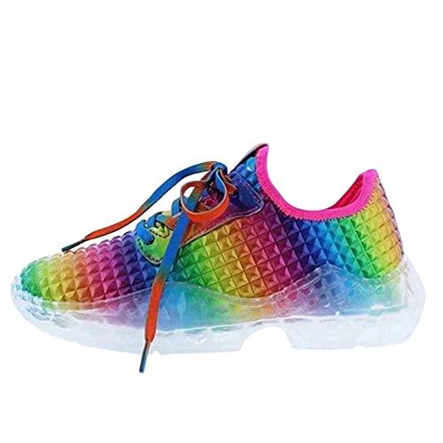 Lilygodx Zapatillas Multicolor Running para Mujer Aire Libre y Deporte Transpirables y Ligeros con Cordones y Cojín Casual Zapatos Gimnasio Correr Sneakers